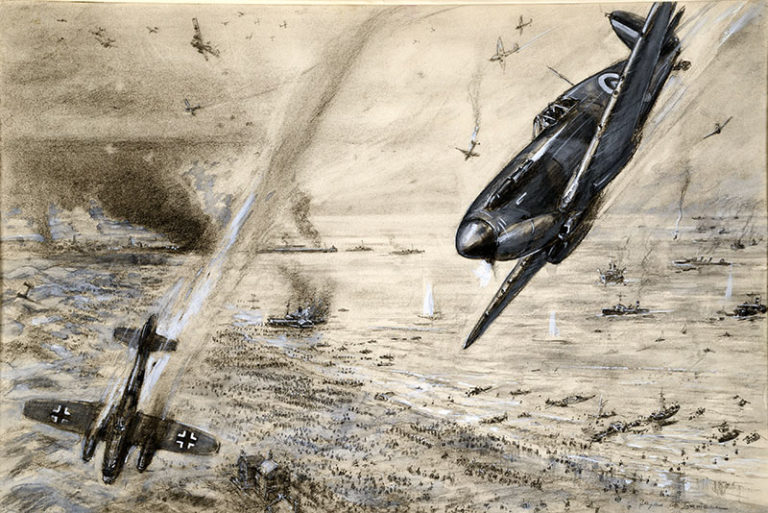 Painting by Dunkirk artist Bryan de Grineau of two opposing fighter planes in aerial combat. The painting is called Air duel over crowded evacuation beach.