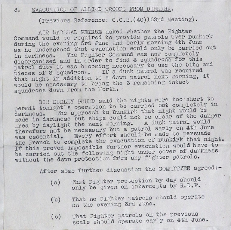 Typed document of War Cabinet: Chiefs of Staff Committee meeting conclusions, dated 3 June 1940.