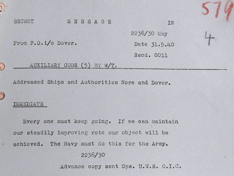 Typed note from Flag Officer, Dover, to all ships and shore authorities: 'Everyone must keep going', 31 May 1940.
