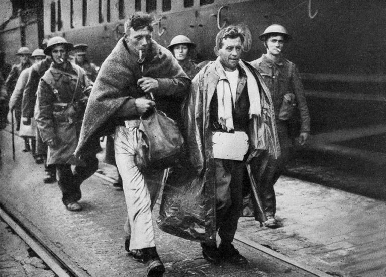 French and British escapees from Dunkirk debarking at a British port during the Evacuation, June 1940.