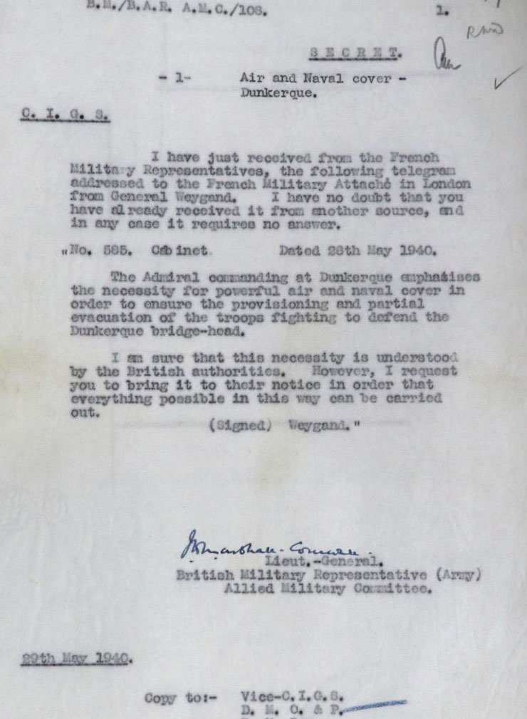 Telegram from the British Military Representative to the Allied Military Committee to the C.I.G.S., Field Marshal Dill: Request from French for British air and naval support at Dunkirk, 29 May 1940.