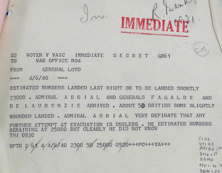 General Lloyd to War Office: Evacuation of French and closure of Dynamo, 4 June 1940.