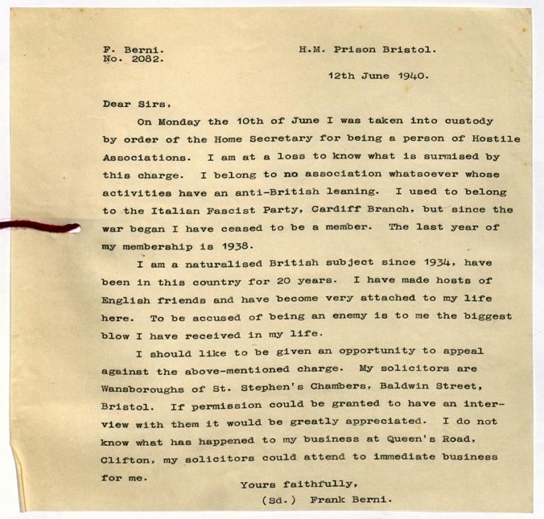 Aliens' Files: Nationality and Naturalisation: BERNI, F Date of Birth: 30.10.1903.
