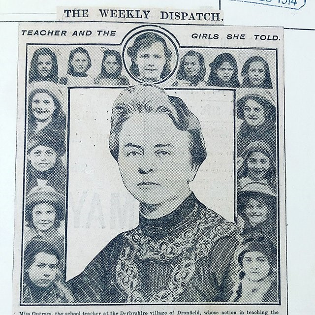 Image of a black and white newspaper article with the caption, 'Teacher and the girls she told', with images of Miss Outram and some of her pupils. Found in ED 50/185.