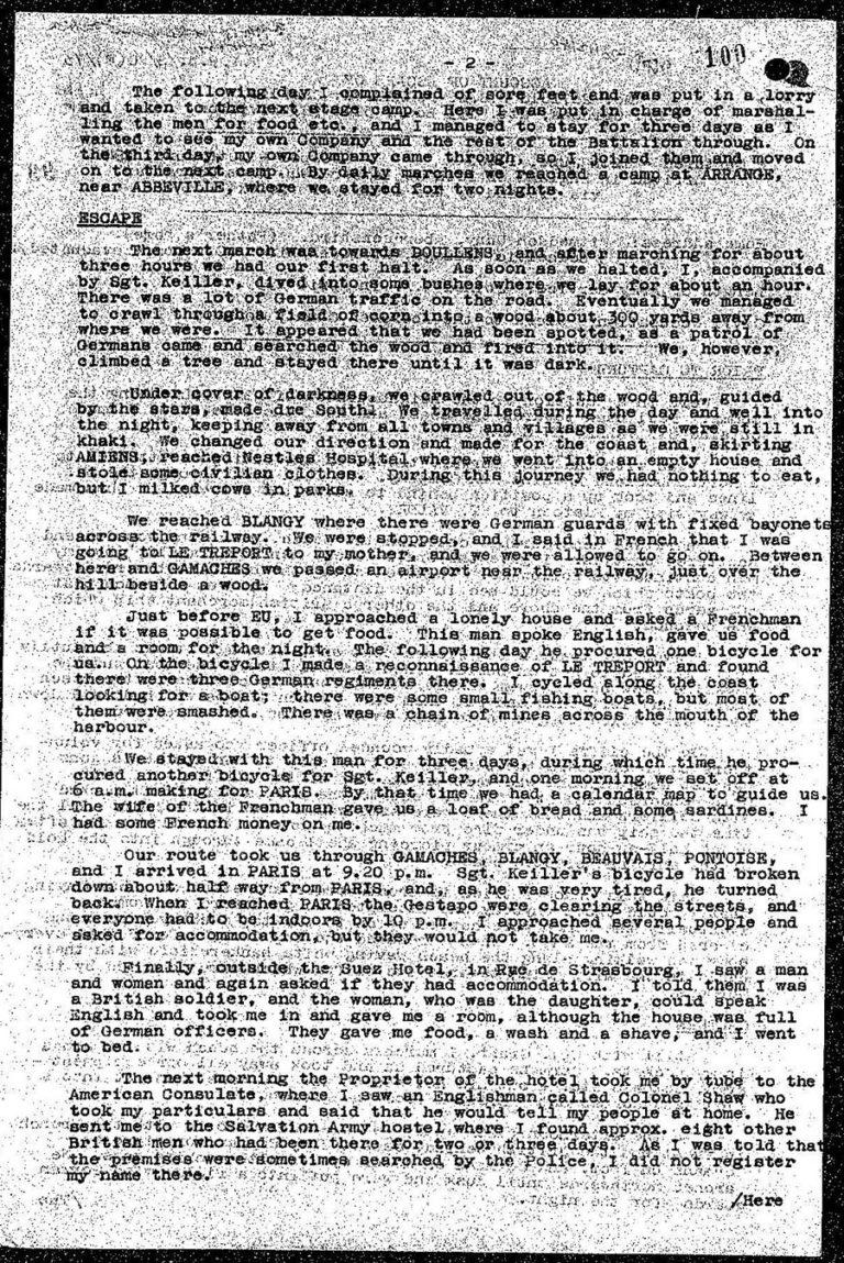 Details of Fullerton's escape after his surrender in June 1940.