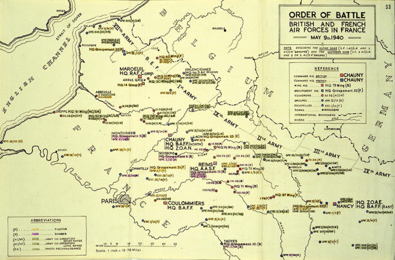 Order of Battle for British and French air forces in France, 9 May 1940.