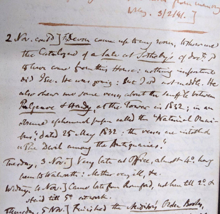 William Henry Black's note that Mr F Devon had shown him some the verses titled: 'The Devil among The Antiquaries'.