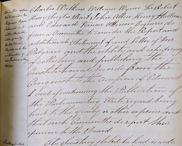 Order to set up a committee to inquire into Palgrave's editing of the Parliamentary Writs.
