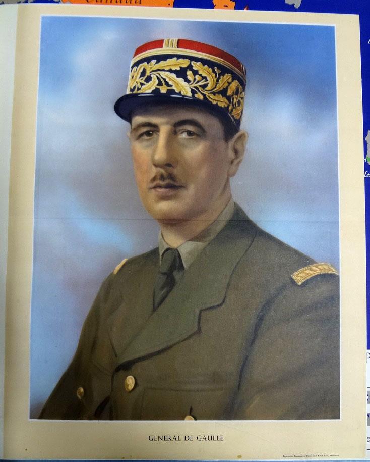 Colour portrait of General de Gaulle in 1940.
