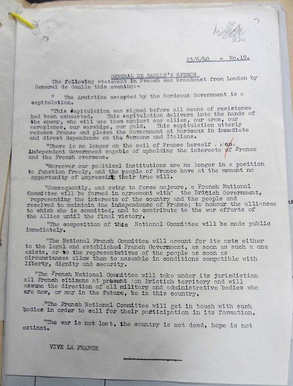 Text of General de Gaulle's broadcast, 23 June 1940.