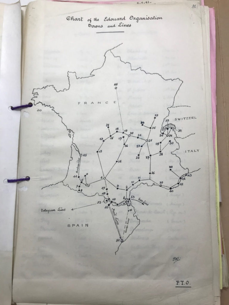 Egbert's hand drawn map of the Edouard Organisation, including towns and communication lines.