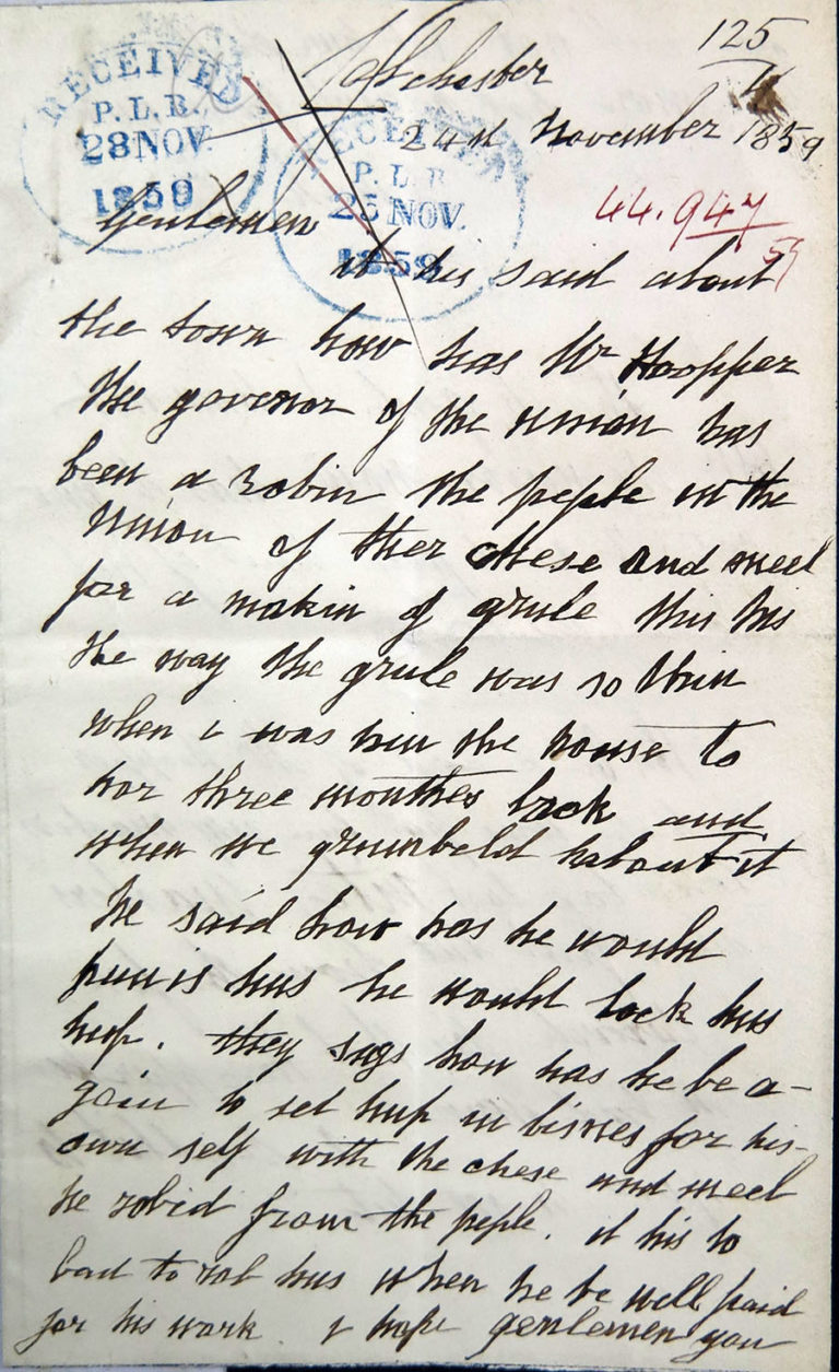 Handwritten first page of Sarah's letter.