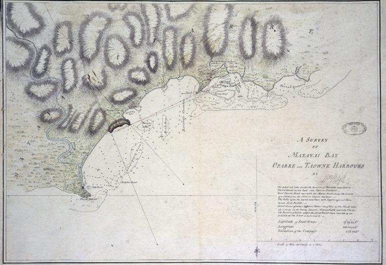 Society Islands: Tahiti. Map of Matavai Bay, drawn by William Bligh, 1792.