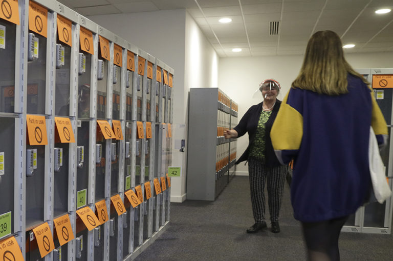 Storage lockers for members of the public are now spaced out.