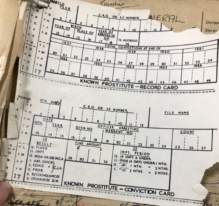 An example of the statistical nature of the records are these 'known prostitute' record and conviction cards, which were used to record the levels of sex work by the Metropolitan Police in the build up to the 1959 Street Offences Act.