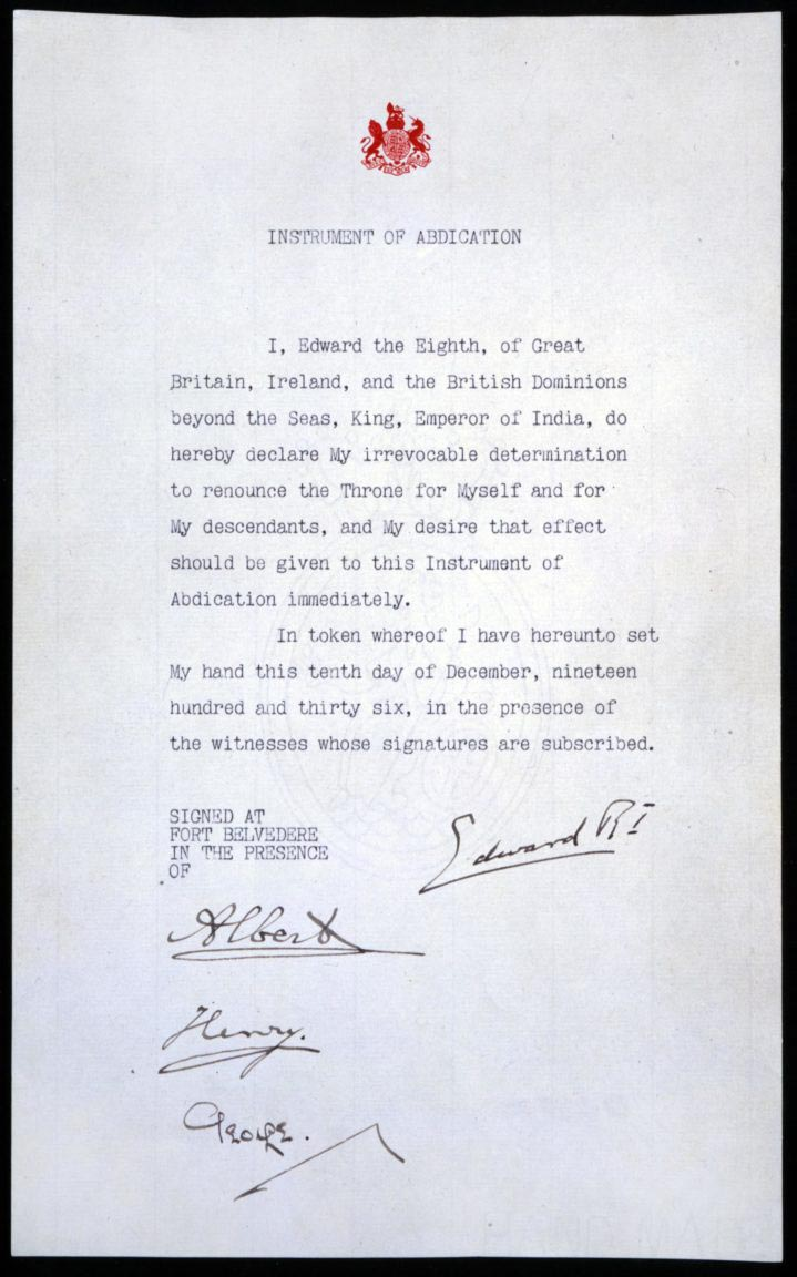 Instrument of Abdication of Edward VIII, 1936.