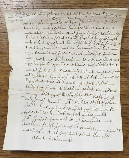 Letter from Mijntje Meyderts to her husband Willem Luckassen, November 1672, written in Dutch.