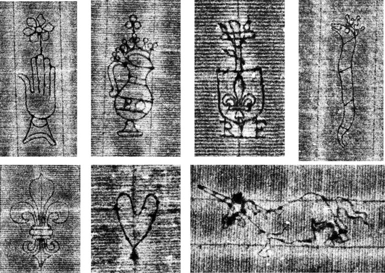 Details of the phase-shift images showing the variety of watermarks imaged from The National Archives' collection.