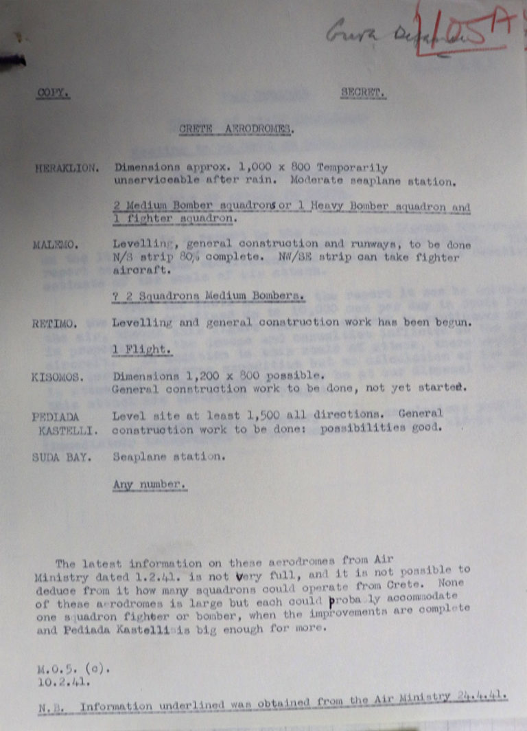 Typed document detailing airfield works in Crete, 10 February 1941.