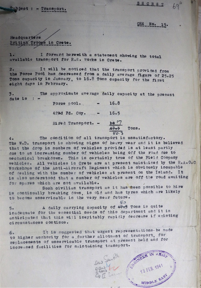 Typed document detailing problems with vehicles in Crete, February 1941.