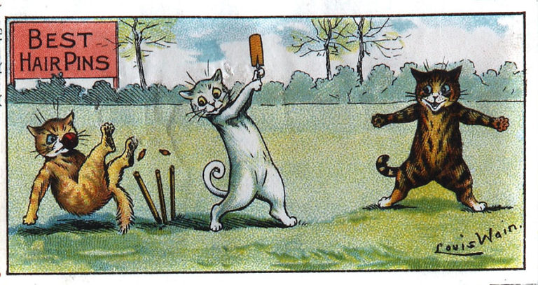 Colour illustration of cats playing cricket, Louis Wain, 1906.