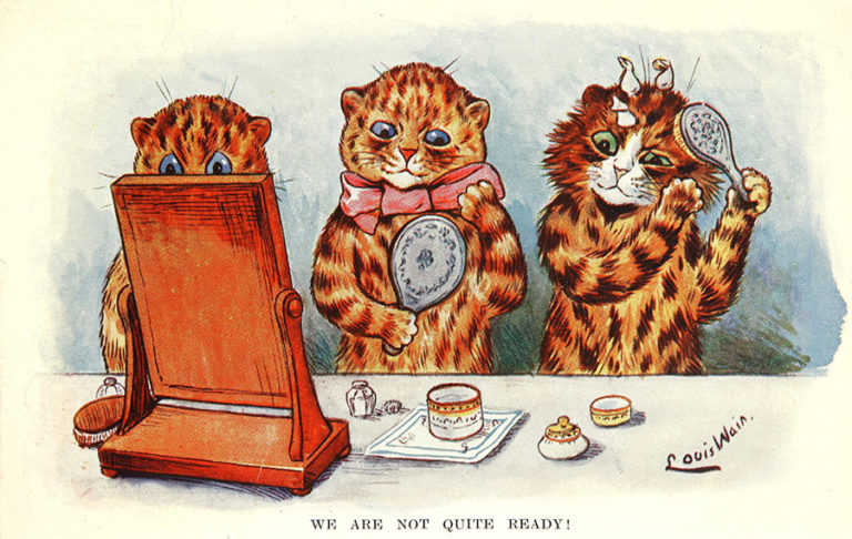 'We Are Not Quite Ready', colour cartoon by Louis Wain, 1904.