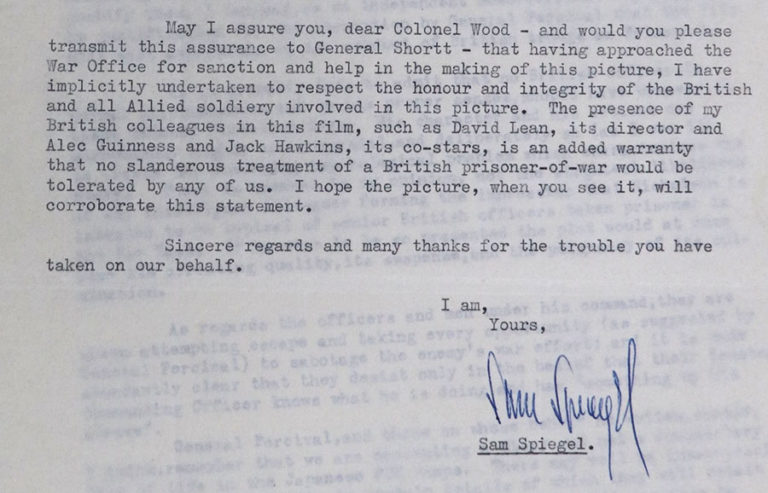 Extract from a letter by Sam Spiegel to Colonel Wood at the War Office defending the script. He points out that the British director and actors who would not tolerate slanderous treatment of British prisoners of war.