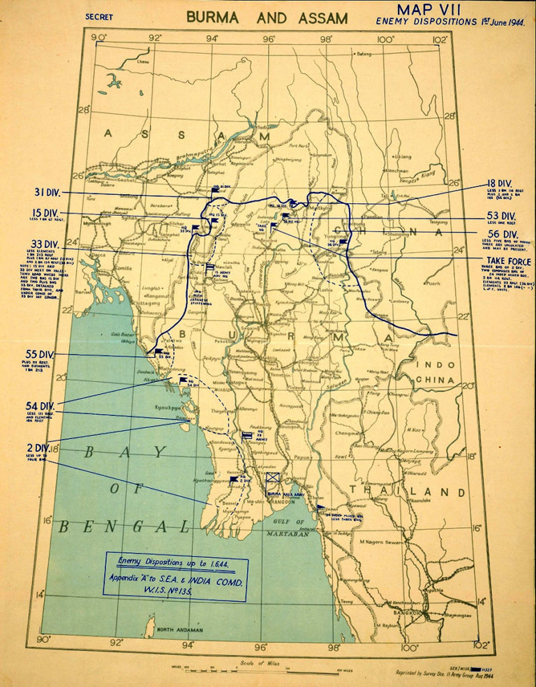 Map showing Japanese positions in Burma in 1944.