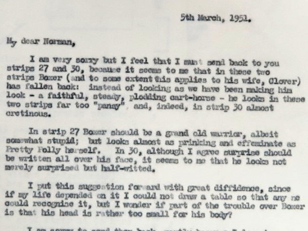L Sheridan's letter to Norman Pett, 5 March 1951.