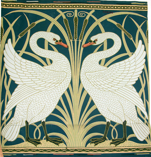 'Swan, Rush and Iris', design for wallpaper by Walter Crane for Jeffrey & Co., 16 August 1877.