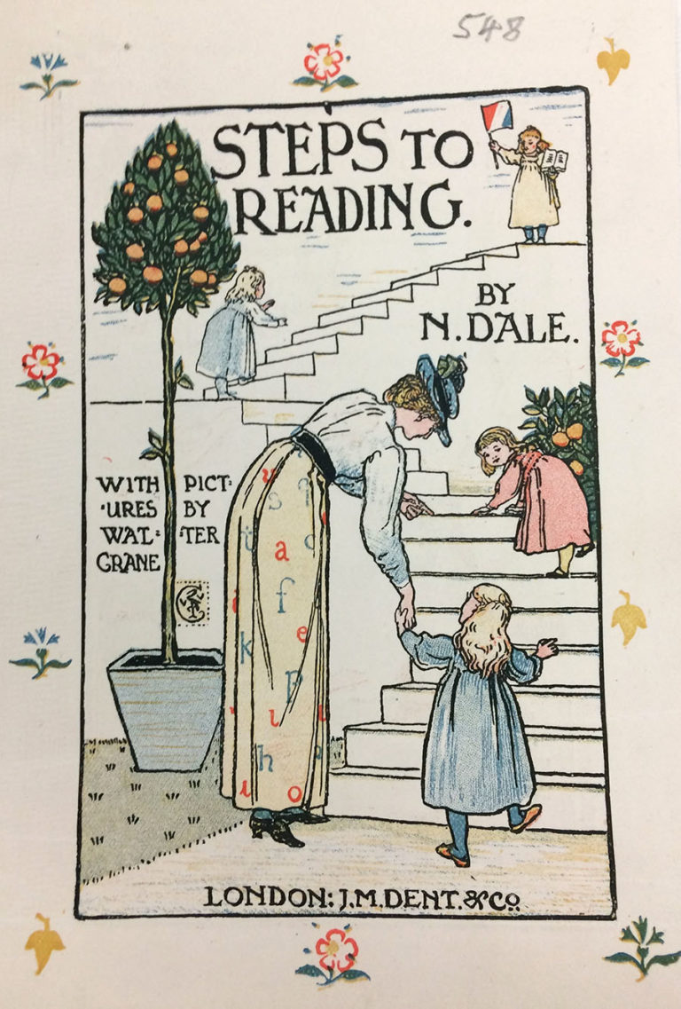 Frontispiece to Nellie Dale's 'Steps to Reading', 1899. Illustrated by Walter Crane. Registered for copyright by J M Dent.