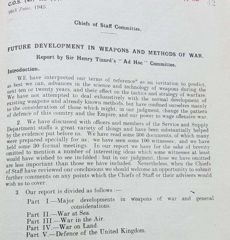 Future Development of War Report, June 1945.