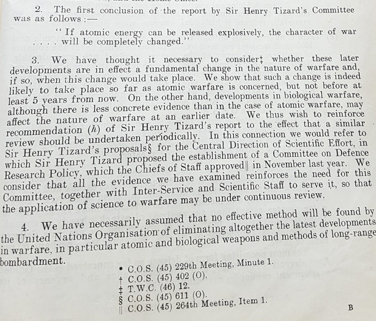 Revised Report on the Future Development of War, July 1946.