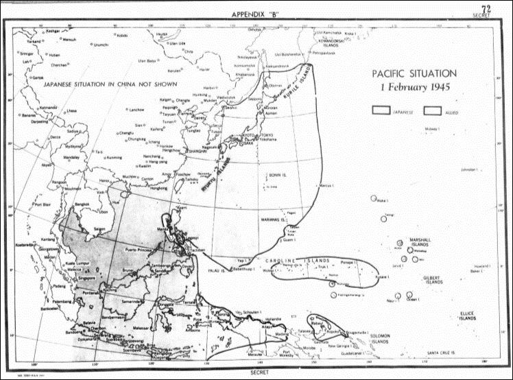 Pacific: Situation Map, 1 February 1945.