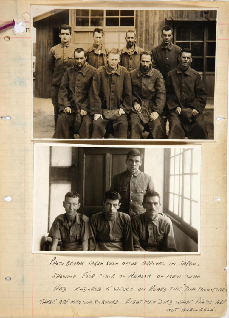 Page from a notebook with explanatory text and two photographs of British and Allied POWs photographed shortly after arrival in Japan on board the SS Dianichi Maru, a Japanese 'hell ship' used for transporting Allied prisoners of war. Eight of their comrades perished on the voyage.
