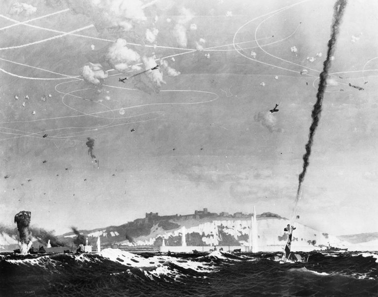 Black and white painting of the English coastline with RAF and Luftwaffe aircraft in conflict in the skies. The painting is 'Battle of Britain', by Charles Pears, 1940-1945.