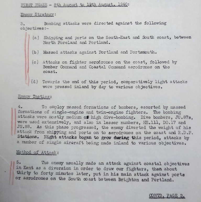 An excerpt from Page 1 of the report from Air Vice-Marshal Keith Park, Air Officer Commanding, No. 11 Group, to RAF Fighter Command – 'German air attacks on England – 8 Aug to10 Sept.'