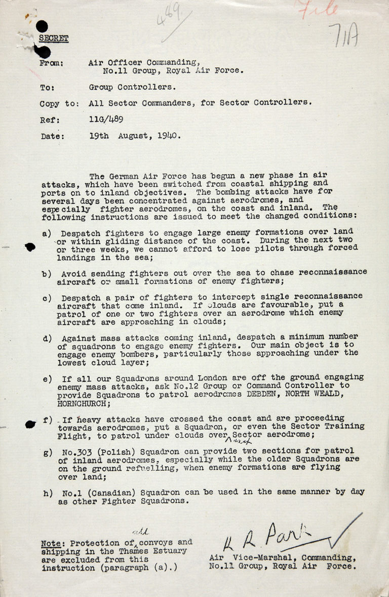 Memorandum of instructions from Air Vice-Marshal Park to all Group and Sector Controllers of No. 11 Group – 'Luftwaffe against fighter aerodromes', 19 August 1940.