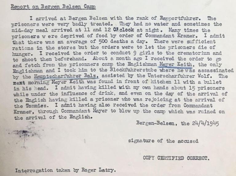 Typed report on the interrogation of Rapportführer Wilhelm Emmerich, 24 April 1945.
