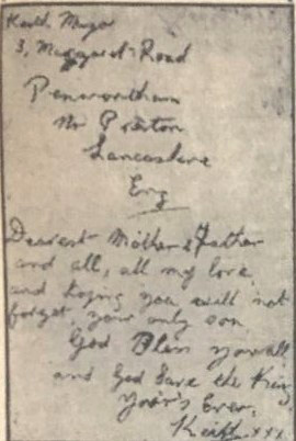 Letter from Able Seaman Keith Mayor to his parents at Margaret Road, Preston; also reproduced for the Sunday Express article detailing his murder, 17 June 1945.