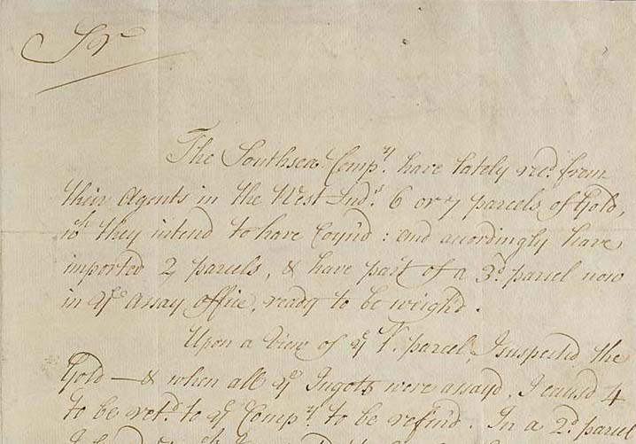 Handwritten document by Hopton Haynes titled 'Report on gold from the West Indies brought to the Mint by the South Sea Company'.