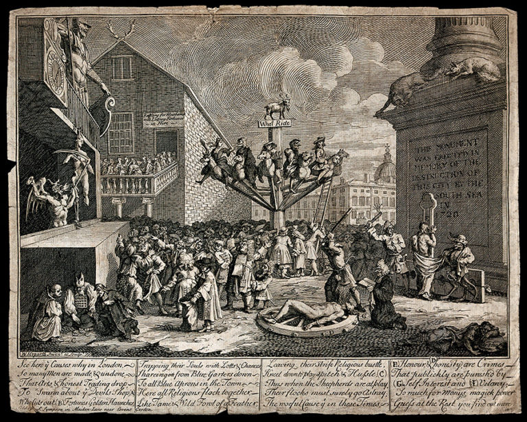 An illustration by William Hogarth titled 'The South Sea Scheme: speculators ruined by the collapse of the South Sea Company' (1721).