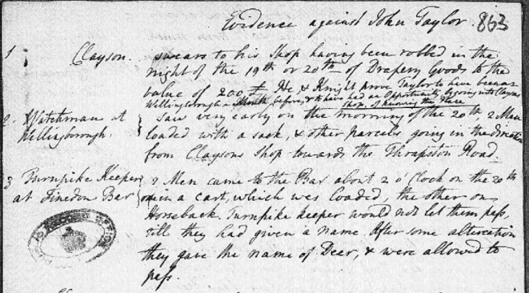 A handwritten note detailing the evidence against a man named John Taylor.