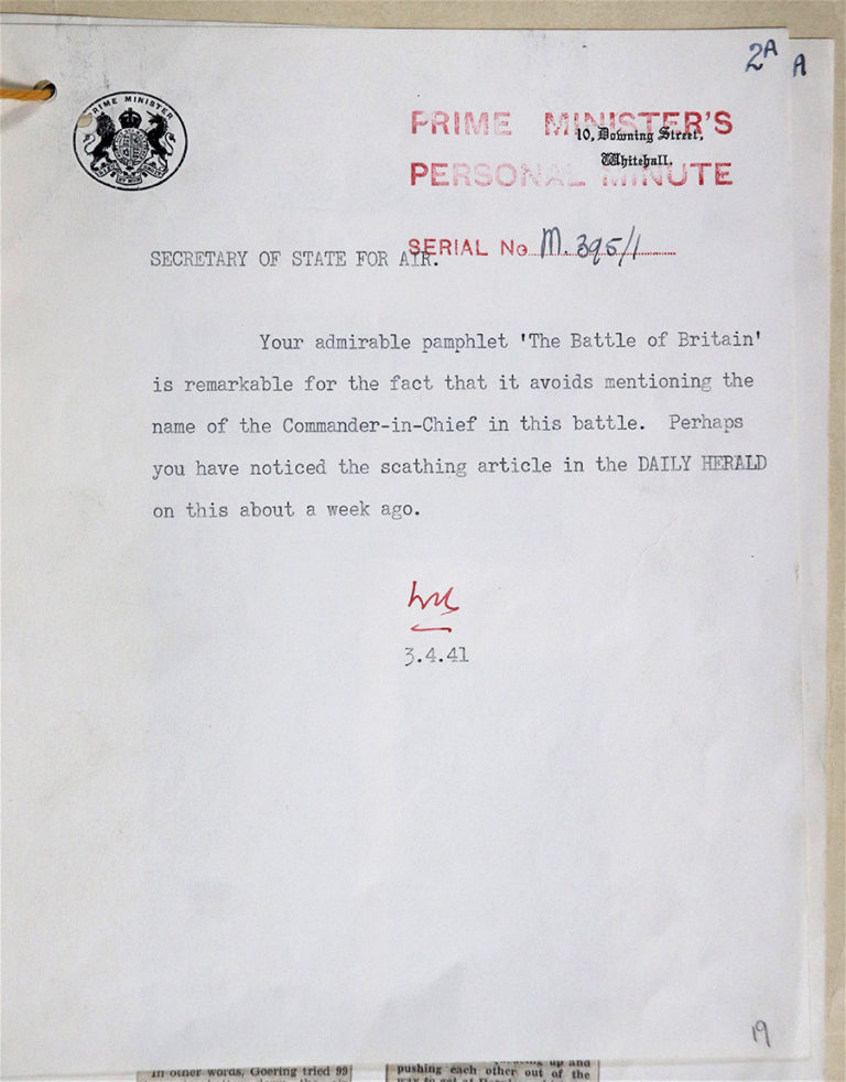 A typed letter from Winston Churchill, in the Battle of Britain' pamphlet dated 3 April 1941.