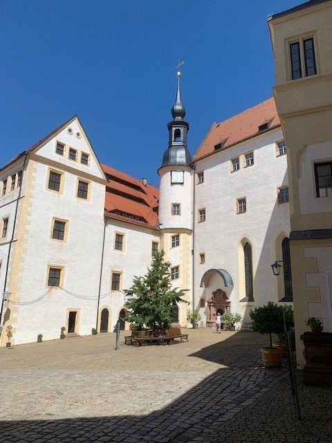 Colour photograph of the exterior of Colditz castle.