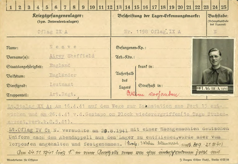 Page one of Lieutenant Airey Neave's prisoner of war card. It shows lines of typewritten text in German, with a small black and white photograph of Neave in uniform.