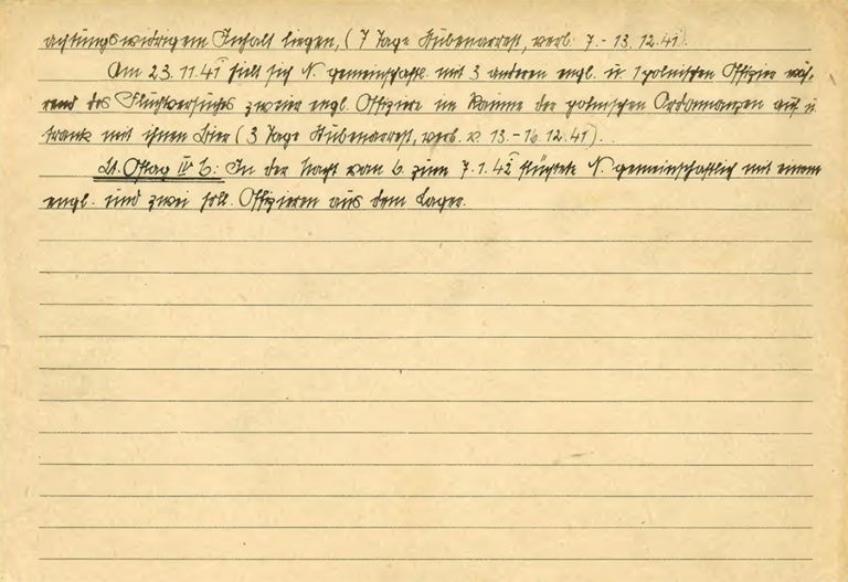 The second page of Lieutenant Airey Neave's prisoner of war card. There are six lines of handwritten text in German.