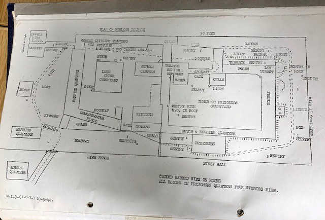 Detailed typed plan of Colditz drawn up by Airey Neave to help plan further escapes.