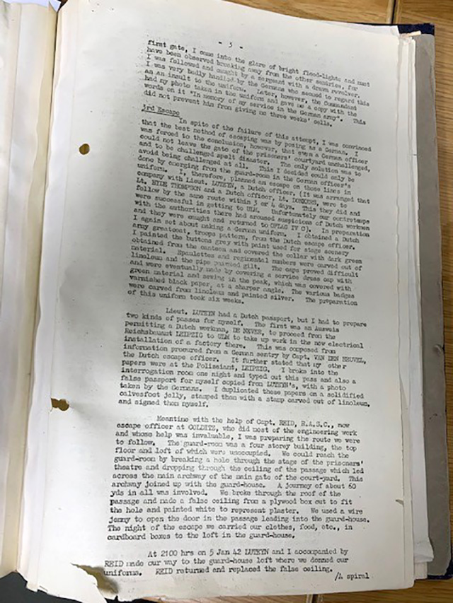 A single page page from the typed transcript of Lieutenant Airey Neave's account of his escape from Colditz. It confirms that he and Lieutenant Luteyn impersonated German officers with forged papers.