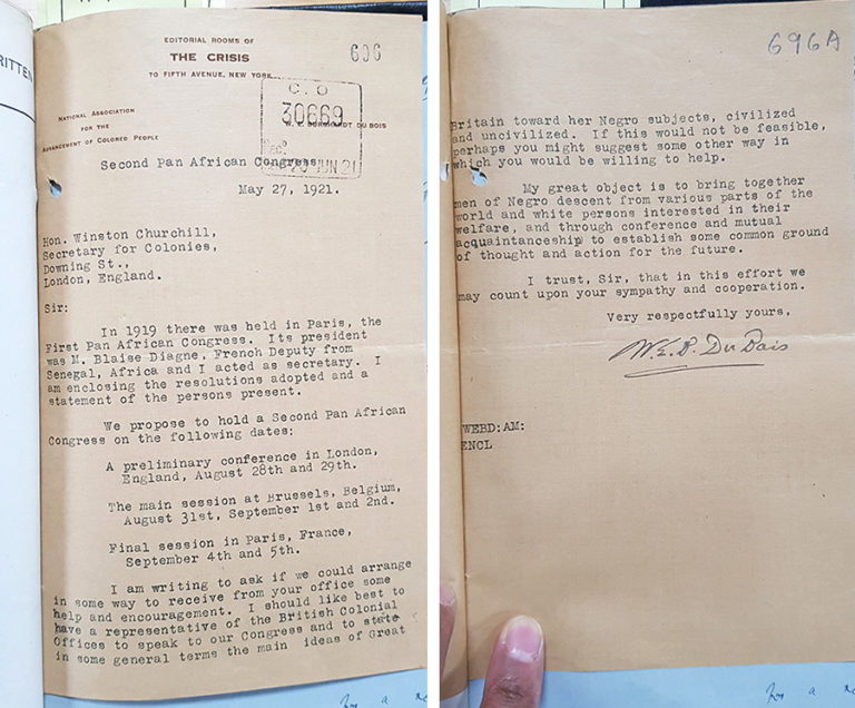 Photograph of a scan of the typed letter to Churchill by W E B Du Bois, dated 27 May 1921.